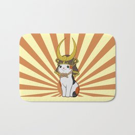 Japanese Bobtail Cat Wears Samurai Hat Bath Mat