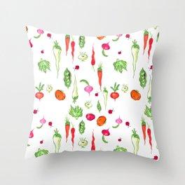Veggie Party Pattern Throw Pillow
