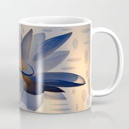 Midnight Blue Polka Dot Floral Abstract Coffee Mug