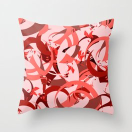Abstract Curls - Burgundy, Coral, Pink Throw Pillow
