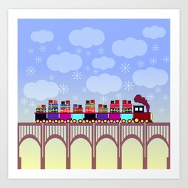 A train with Christmas gifts Art Print