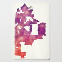 Kansas Missouri city watercolor map in front of a white background Cutting Board