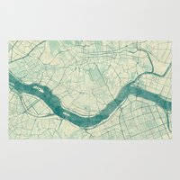 seoul Area & Throw Rugs featuring Seoul Map Blue Vintage by City Art Posters