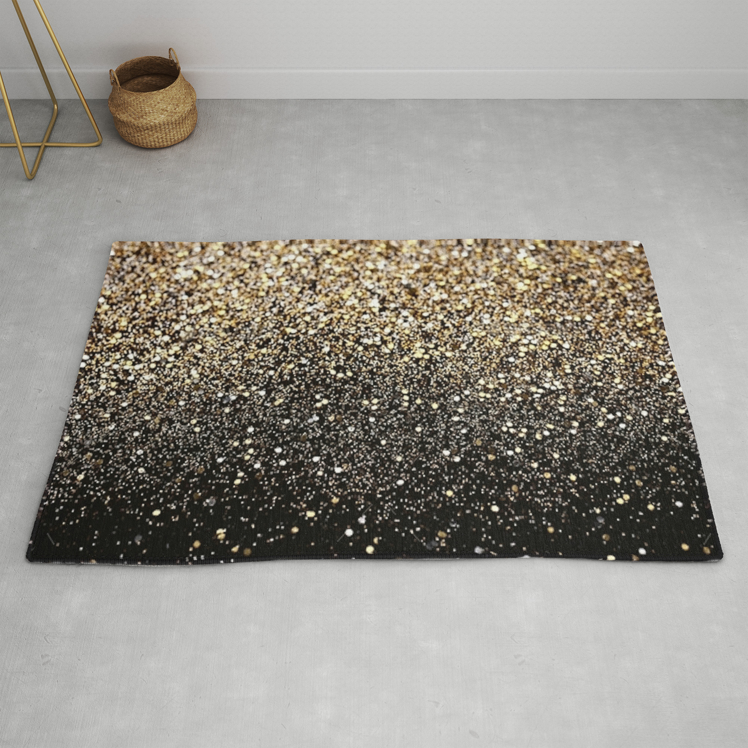 Black Gold Sparkle Rug By Ldor Society6