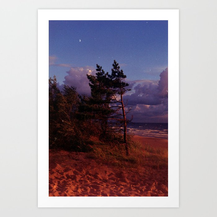 Red Pine and Moon Art Print