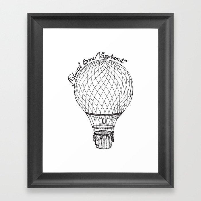 Vintage Hot Air Balloon - Natural Born Vagabond™ Framed Art Print