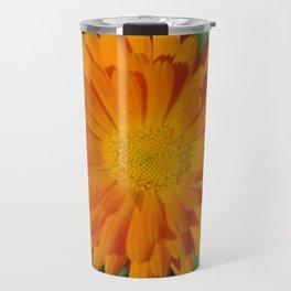 Orange Marigold Close Up With Garden Background  Travel Mug