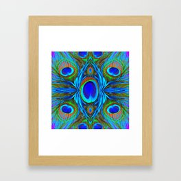BLUE  PEACOCK EYE FEATHER ABSTRACT Framed Art Print