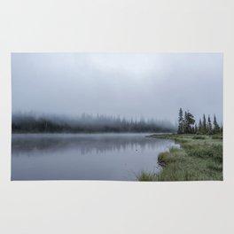 Foggy Morning at Reflection Lake Rug