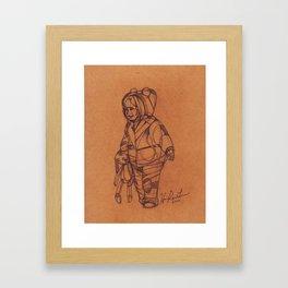 Winter beary land sketch Framed Art Print