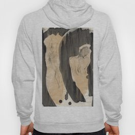 Figurative Abstract Realism Man Back Gesture Drawing Black and Beige Hoody