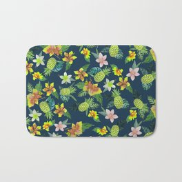 Tropical lime green coral navy blue pineapple watercolor floral Bath Mat