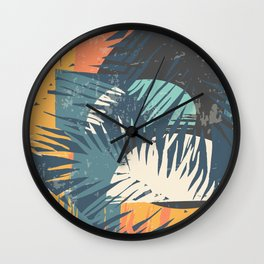 ABSTRACT TROPICAL SUNSET with palm leaves Wall Clock