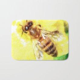 The Pollen Collector Honeybee Watercolor Bath Mat