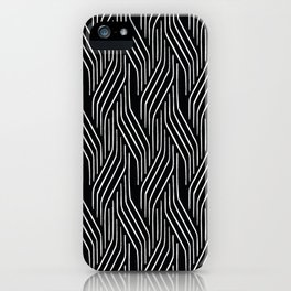 Black And White Strip Line Pattern iPhone Case