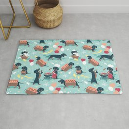Hot dogs and lemonade // aqua background navy dachshunds Rug