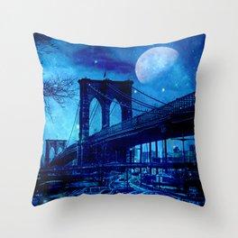 Full Moon Over Brooklyn Bridge Throw Pillow