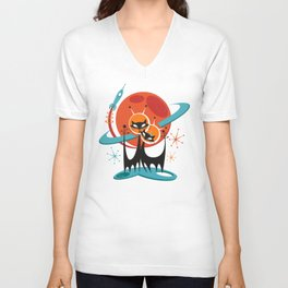 Galactic Cats by Art of Scooter Mid Century Modern Art Unisex V-Neck