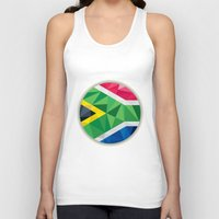 south africa Tank Tops featuring South Africa Flag Icon Circle Low Polygon by patrimonio