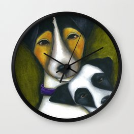 Jack Russell Terriers Mom and Baby  Wall Clock