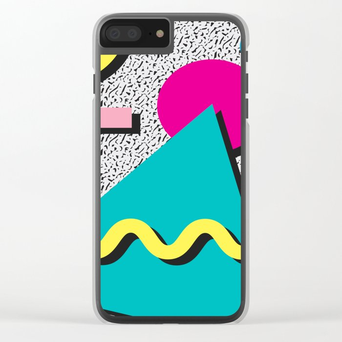 Abstract 1980's Clear iPhone Case