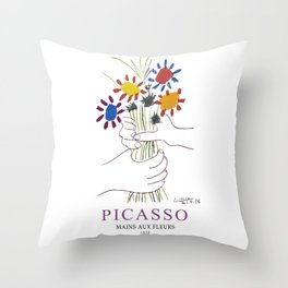 Picasso Exhibition - Mains Aus Fleurs (Hands with Flowers) 1958 Artwork Throw Pillow