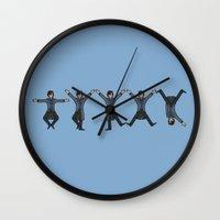 conan Wall Clocks featuring Dancing Sherlock by Doodle Dojo