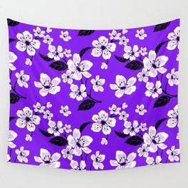 Light Purple & White Sakura Cherry Tree Flower Blooms on Dark Purple - Aloha Hawaiian Floral Pattern Wall Tapestry