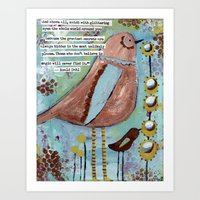 roald dahl Art Prints featuring  birds with Roald Dahl quote, whimsical, flowers by sunshine girl designs