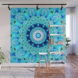 Blue Ice Glass Mandala, Abstract Aqua Lace Wall Mural
