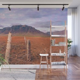 Iceland Mountain Landscape; Farm Fence Wall Mural