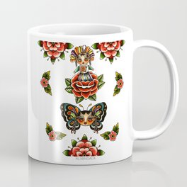 Mexican Dolls Flash, rose doll and butterfly only. Coffee Mug