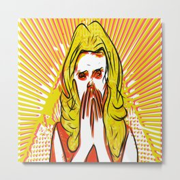 Blonde bombshell pop art Metal Print