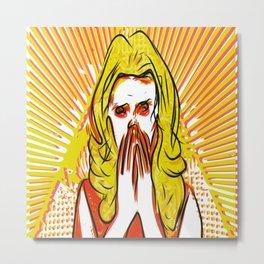 Blonde bombshell pop art Metal Print