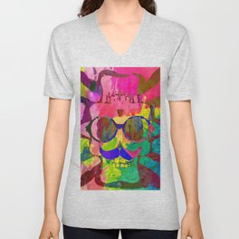 old vintage funny skull art portrait with painting abstract background in red pink yellow green blue Unisex V-Neck