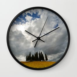 Golden fields and cypresses Wall Clock