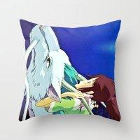 chihiro Throw Pillows featuring Spirited Away (Chihiro and Haku) by Tiffany Gage Graphics