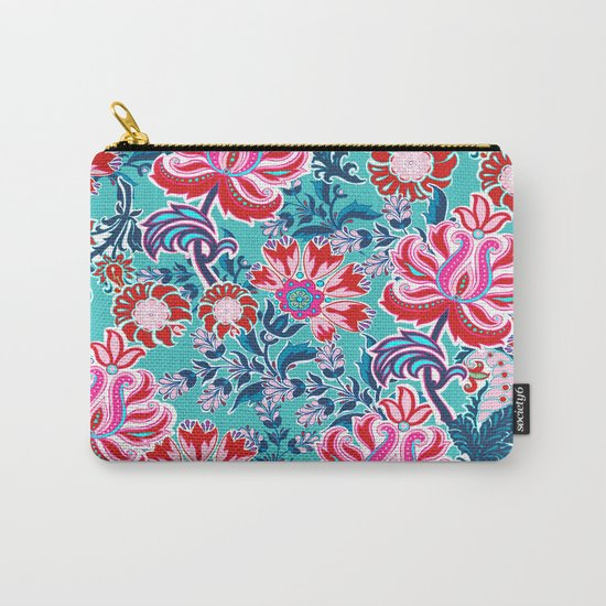 Bohemian Floral Paisley in Turquoise, Red and Pink Carry-All Pouch