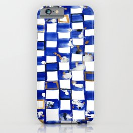 Blue and White Checks iPhone Case