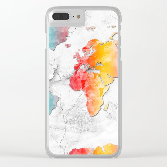 world map marble 2 Clear iPhone Case