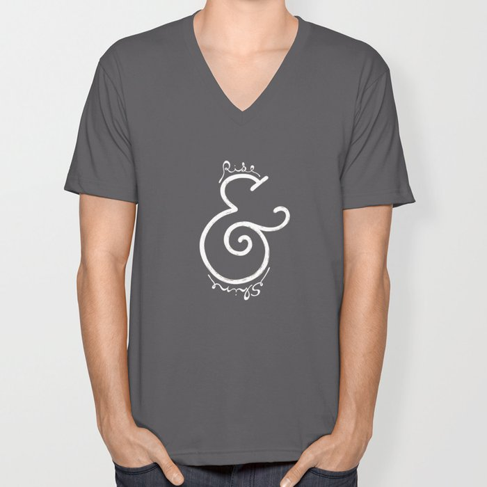 """rise & shine"" Ampersand Unisex V-Neck"