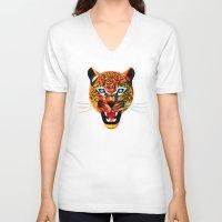 jaguar V-neck T-shirts featuring jaguar by Alvaro Tapia Hidalgo