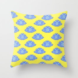 Lotus Pattern Yellow Throw Pillow