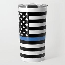 Blue Thin Flag Police Law Enforcement Flag Travel Mug