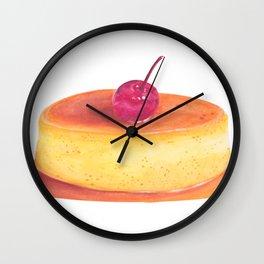 Caramel flan, vanilla custard, pop art watercolor illustration Wall Clock