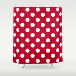 Red and Polka White Dots Shower Curtain