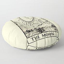 XVIII. The Moon Tarot Card on Parchment Floor Pillow