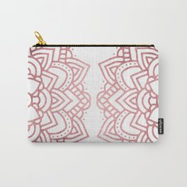 Modern geometric white rose faux gold floral mandala Carry-All Pouch