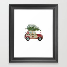 Vintage Christmas car with tree red Framed Art Print