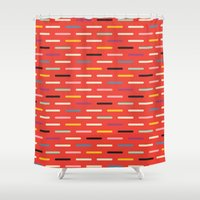 toddler Shower Curtains featuring Modern Scandinavian Dash Red by Season of Victory